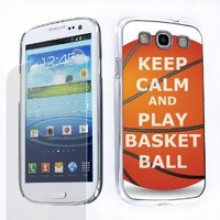 Duo Package: Hard Cover Case (Keep Calm/Basketball) + One Tough Shield Clear Screen Protector for Samsung Galaxy S-III S3