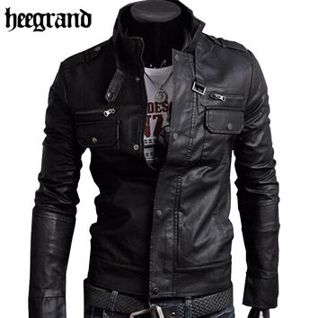 HEE GRAND 2018 Classic Style Motorcycling PU Leather Jackets Men Slim Male Motor Jacket  Men's Clothes MWP148