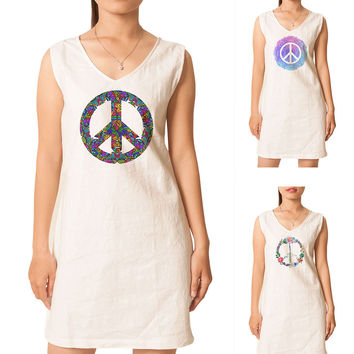 Women Peace Symbols Printed Vintage Short Sleeves Linen Mini Shift Dress WDS_02