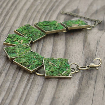 Moss Bracelet, Eco Friendly, Earth Day, Living Plant Jewelry, Terrarium Jewelry, Terrarium, Garden Gift