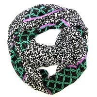 Cheetah Scarf Infinity Scarf Double Loop Scarf Circle Scarf Black White Fuchsia Green Chain Pattern Womens Scarf Ready to Ship