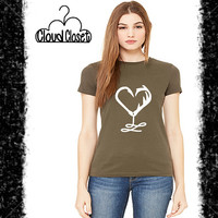 Fish Hook and Deer Antler Heart Short Sleeve Tee - T Shirt - Country Tee - Southern Style Tee - Country