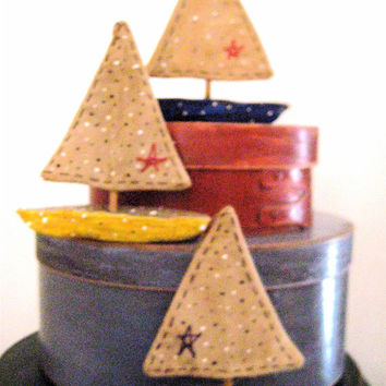 Primitive Folk Art SAILBOAT/Pond Boats---Set of 3 Primitive, Handcrafted Sailboat Folk Art Nautical Ornaments