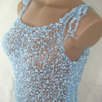 Knitted Transparent Adjustable Strap Light Blue Blouse Top for Spring&Summer by Arzu's Style