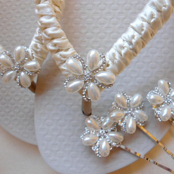 Ivory Bridal Flip Flops and Pearl Rhinestone Flower Hair Pin SET
