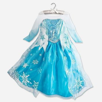 Girls Snow Queen Princess Elsa Anna Party Dresses Children Kids Cartoon Cosplay Dress Clothes Baby Vestidos Costume Clothing
