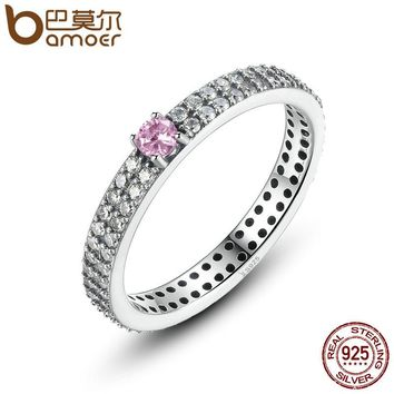 BAMOER 925 Sterling Silver Pink Stone with Small Crystals Finger Ring for Women Fashion Engagement Jewelry SCR003