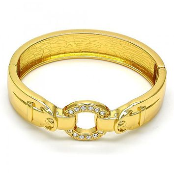 Gold Tone 07.252.0021.05.GT Individual Bangle, with White Crystal, Polished Finish, Golden Tone (15 MM Thickness, Size 5 - 2.50 Diameter)