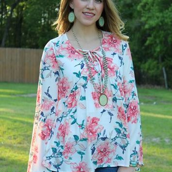 Sunny State Of Mind Floral Bell Sleeve Top with Lace Up Neckline