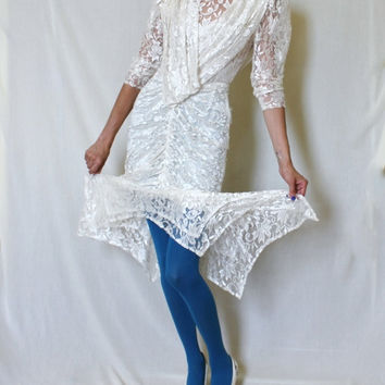 White Vintage Lace Gown 90s Mermaid Dress Layered Wedding Quarter Sleeves Sheath