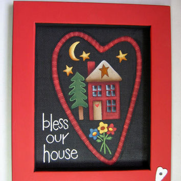 Bless Our Home Tole Painted and Framed Art