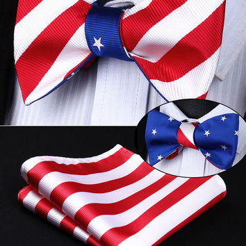 BE05BS Red White Blue Stripe Double Side Bowtie Men Silk Self Bow Tie hanky set Pocket Square Classic Party Wedding