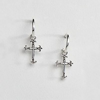 Reclaimed Vintage Inpsired Cross Hoop Earring In Sterling Silver Exclusive To ASOS at asos.com