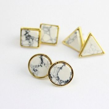Geometric White Turquoise Stud Earrings