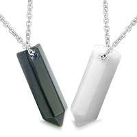 Love Couple Lucky Crystal Point Yin Yang Bullet Style Black Agate White Quartz Pendant Necklaces