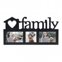 "Adeco Decorative Black Wood ""Family"" Wall Hanging Picture Photo Frame, 3 Openings, 4x6"", 4x4"""