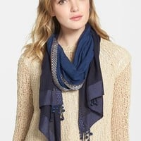 Women's Eileen Fisher Ball Fringe Embroidered Border Cotton Scarf - Blue