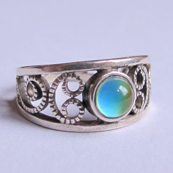 Mood Ring Sterling Silver 925 - 5 mm round - High Quality - Celtic Mood Ring