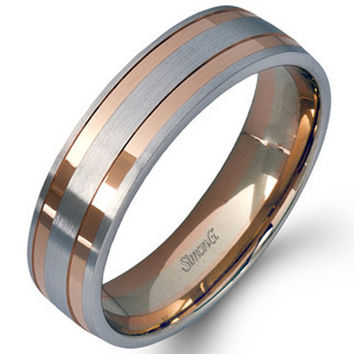 Simon G. 14K White and Rose Gold Two-Tone Men's Wedding Ring
