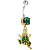 Green Imitation Opal Gold Plated Frog Dangle Belly Ring | Body Candy Body Jewelry
