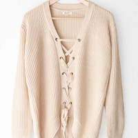 Oversized Lace Up Knit Sweater - Cream