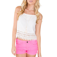 Vicky Lace Crop Top - White