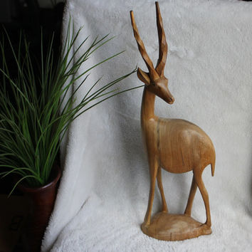 "Hand Carved Antelope Gazelle, 18.5"" Tall Vintage Serengeti African Safari Wood Statue"