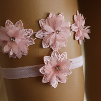 Wedding Garter Pink Lace Bridal Garter,,Bridal Lingerie,The Same Lace Barefoot Sandals,Garter and Bridal Barefoot Sandals Set