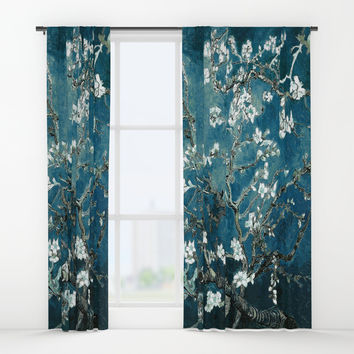 Van Gogh Almond Blossoms : Dark Teal Window Curtains by purelove