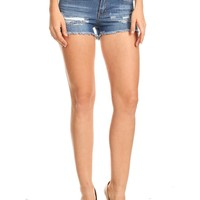 LE3NO Womens Ripped Frayed Hem Denim Shorts with Pockets