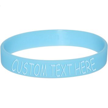 Custom Blue Silicone Glow in the Dark Personalized Message Bracelet