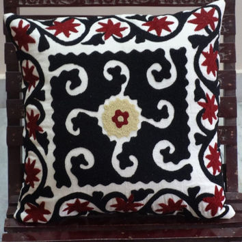 Ethnic Embroidery Pillow Cover, Suzani Cotton Cushion Cover, Black And White Outdoor Cushion, Floor Cushion, Decorative Sofa Pillows