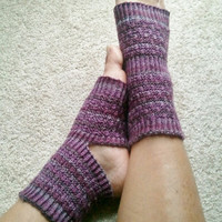 Toeless Yoga Socks Hand Knit in Purple Stripes by MadebyMegShop