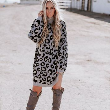 Oversized Leopard Sweater Mini Dress - Leo Gray Black