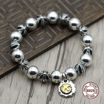S925 Sterling Silver Bracelet Personality retro hip hop Smooth cross beads Classic simple punk