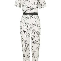 Belted Bamboo Print Jumpsuit - Rompers & Jumpsuits - Clothing
