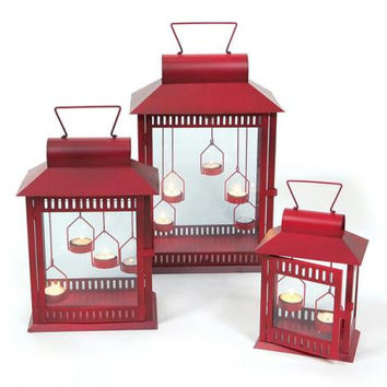 "3 Red Candle Lanterns - Small:10 "" H(holds 2 Tea Light Candles - Not Included)"