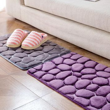 3D Soft Carpet Cobblestone Memory Foam Mats Home Bathroom Toilet Door Mat Absorbent Non-slip Kitchen Floor Rug 40*60cm