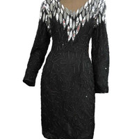 Beaded Black Cocktail Dress Vintage 80s Party Dress NOS Silver Sequins and Black Beads Long Sleeves