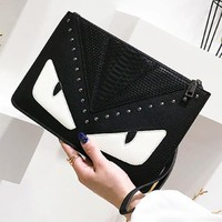 Fendi New fashion contrast color rivets leather handbag envelope bag women Black