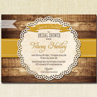 Mustard Yellow Bridal Shower Invitation Rustic Wood Lace Doily Country Faux Bois Vintage Shabby Chic  Printable Digital or Printed- Tracey