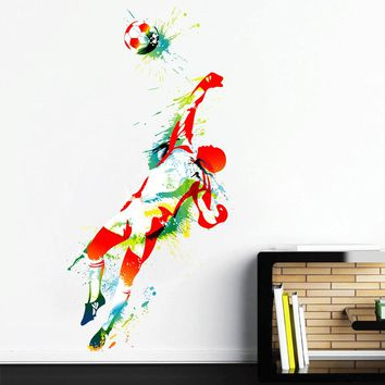 cik112 Full Color Wall decal soccer football ball sport spray paint room Bedroom sports hall