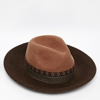 ASOS Wide Brim Fedora Hat In Camel Felt With Aztec Print Band at asos.com