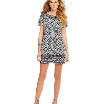 THML Print Tunic Dress with Embroidery | Dillards
