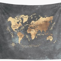 'world map 147 gold black #worldmap #map' Wall Tapestry by JBJart