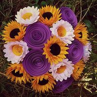 Paper Flower Bouquet - 17 Paper Sunflowers, Daisies and Rolled Flowers  - Handmade Paper Flowers for Brides, Weddings, Showers, Birthdays