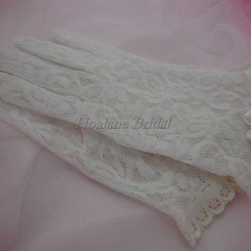 Flower Girl Gloves, stretchy floral lace gloves