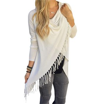 STYLEDOME Womens Tassel Fringe Shawl Hem Shirt Ladies Cardigans Top T-shirt JL
