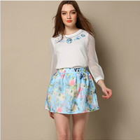White Printed Mesh Long-Sleeve Shirt And Blue Floral Print Pleated Skirt