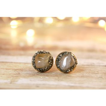 Moonstone June Birthstone Gemstone Earrings
